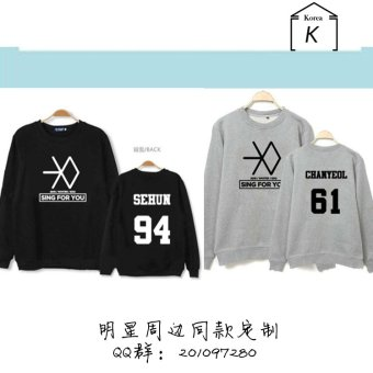 Exo sing for you men and women the same paragraph hoodie thinsection (Chan)