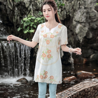 Exquisite retro cotton linen embroidered flowers mid-length Top T-shirt (White) (White)