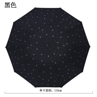 Extra-large double wind bone Folding Umbrella rain or shine umbrella (Black)