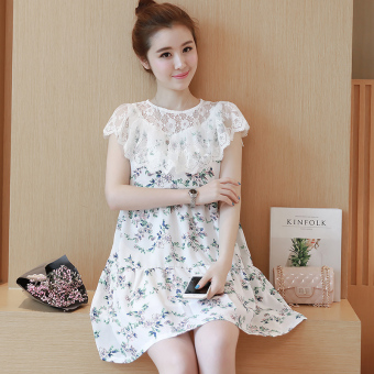 Fashion chiffon long section floral dress nursing dress