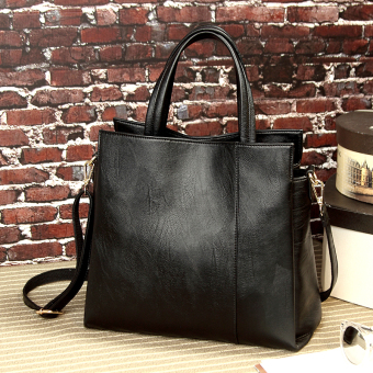 Female bag portable bag simple tote bag New style 2017 Summerfashion large capacity messenger bag ladies bag shoulder bag (Blackto send clutch bag)