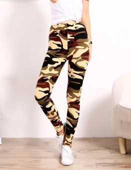 Female outerwear stretch Plus-sized feet pants camouflage leggings (Beige camouflage) (Beige camouflage)