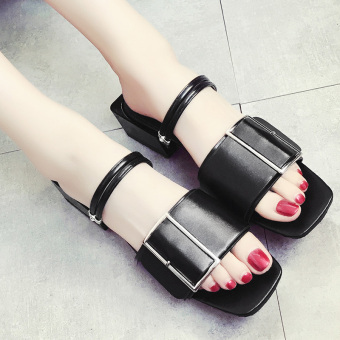 Female pointed outdoor wear slipper shoes sandals (Black 690046)
