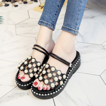 Female pointed outdoor wear slipper shoes sandals (Black 700295)