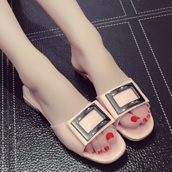 Female pointed outdoor wear slipper shoes sandals (Pink Square buckle 690022)
