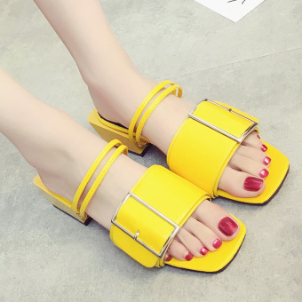 Female pointed outdoor wear slipper shoes sandals (Yellow 690046)