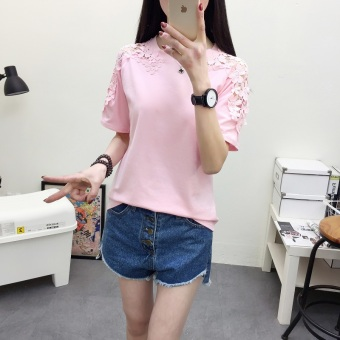Female short-sleeved Slim fit lace t pure white bottoming shirt T-shirt (557 (pink)) (557 (pink))