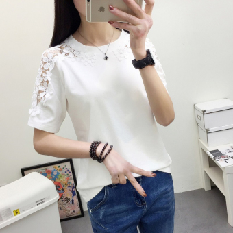 Female short-sleeved Slim fit lace t pure white bottoming shirt T-shirt (557 (white)) (557 (white))