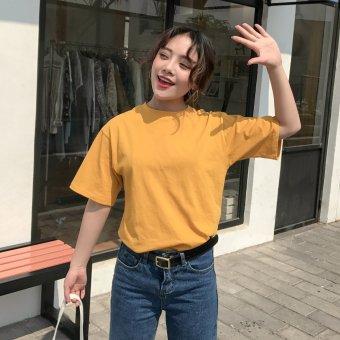 Female short-sleeved summer loose basic student tide bottoming shirt T-shirt (Ginger yellow) (Ginger yellow)