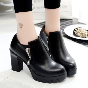 Female thick bottomed versatile shoes New style high-heeled shoes (Black color)