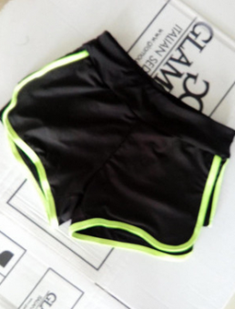 Female trousers fake two-piece stretch sports marathon fitnesspants (Green fake two shorts) (Green fake two shorts)