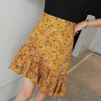 Floral Korean-style high-waisted slimming flounced skirts (Ginger yellow) (Ginger yellow)