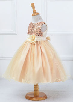 Flower Girl Kids Baby Xmas Bridesmaid Party Formal Sequin Ball GownDress 2-10Y - 2