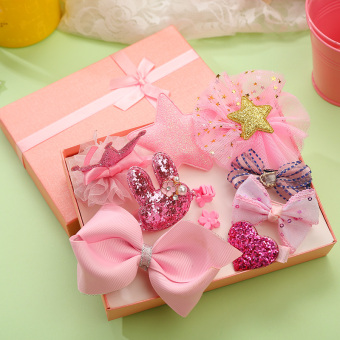 Girls children's clip baby floral headdress hairclip (Pink color)