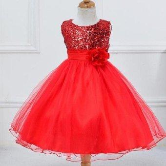 Girls dress sequined dress veil princess dress performance dress - intl - 5