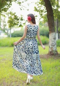 Grandwish Women Bohemian Dress Sleeveless Flower Pattern Printing (Blue) - 3