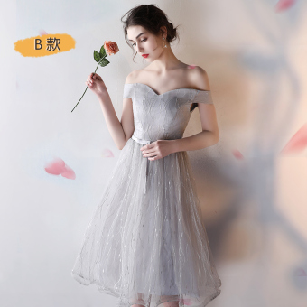 Gray New style bridesmaid dress Slim fit evening dress bridesmaid dress (Silver color B Section)