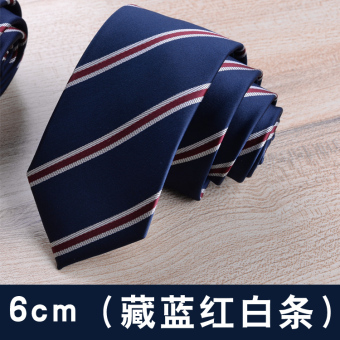 Groom casual 6cm business 8cm wedding students tide tie (6 cm (darkblue red and white stripe))