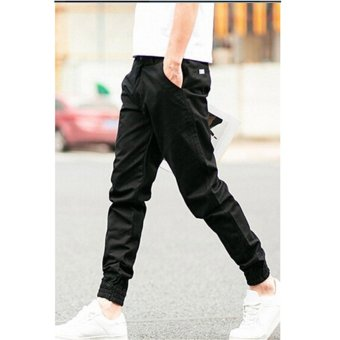 Hanyu Cotton Solid Causal Trouser Pants for Men Navy Black - 2