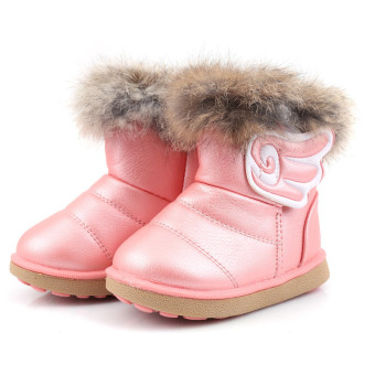 Hanyu Winter Children Snow Boots Thick Warm Shoes Kids Shoes Pink - intl