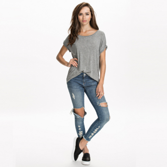 Haoduoyi2017 spring and New style European and American minimalist back Angel wings Print loose rolled up their sleeves hedging T-shirt (Gray)