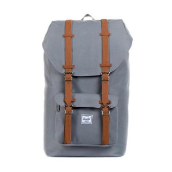 Harga Herschel Supply Co - Little America - Grey Leather - Mid Volume