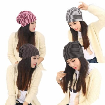 Hip-Hop Stripe Multi Purpose Baggy Unisex Cap Scarf Beanie Hat -intl