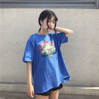 Hole t-shirt women short sleeve korean fan wild personality printing long section of loose college of hong kong flavor vintage chic coat (Blue)