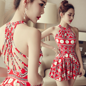 Hot Spring female Slimming effect steel prop gather swimmingclothing piece Skirt Style swimsuit (Red)