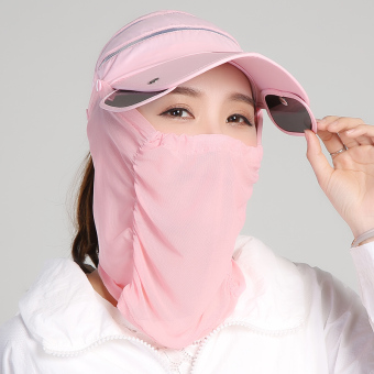 Harga Covering her face benn sun hat summer sun hat outdoor travel sun riding electric car sun visor hat female summer (Solid color-pink)