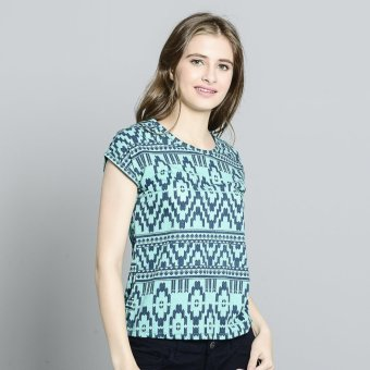 Harga Stamped Longback Casual Printed Top (Blue Green)