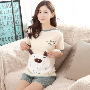 Summer sleepwear female summer pure cotton short sleeve summer thin section cotton cute ladies short sleeve pajamas women suit tracksuit (Cartoon dog short sleeve female models)