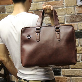 Harga Tidog Men crazy horse male bag handbag briefcase business Korean business bag - intl