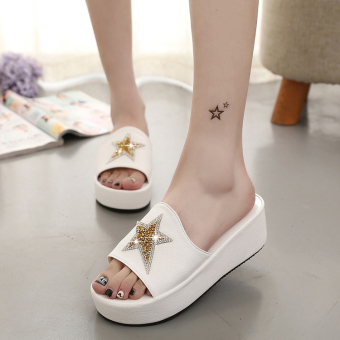 New black thick with muffin bottom slippers female summer white wedges sandals slippers word drag comfortable simple slip (White)