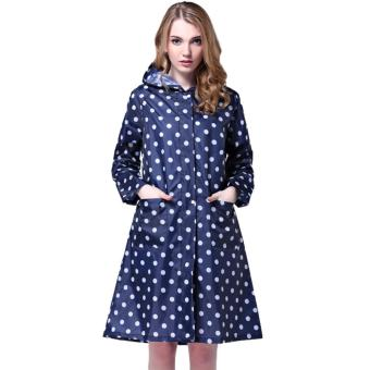 Harga Ajusen Dot Girl Lady Hooded Raincoat Women Outdoor Travel Waterproof Riding Cloth Rain coat for Women Poncho Long Rainwear rain jacket - intl