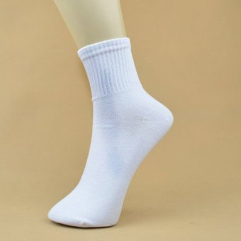 Harga 5 Pair White Men Ankle Socks Mens Cotton Low Cut Athletic Socks One Size
