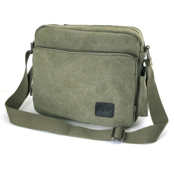 Harga Clearance retro canvas bag multi-purpose shoulder bag casual bag Korean-style female messenger Multi-Function (L + Army green)