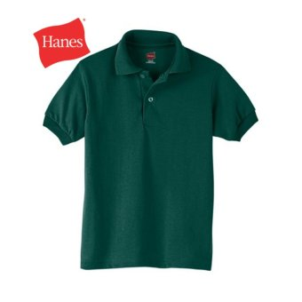 Harga Hanes Kids' Cotton-Blend EcoSmart® Jersey Polo - FOREST GREEN