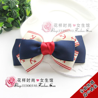 Harga Naval academy wind blue red sea anchor ribbon bow hair accessories/hair/header/fish head clip/hairpin (Fish head clip)