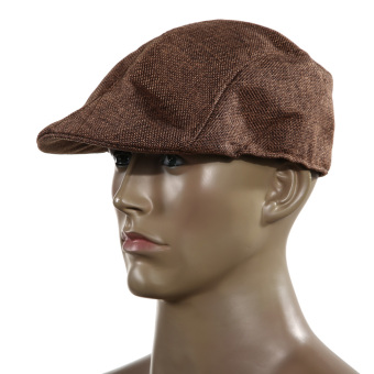 Mens Vintage Flat Cap Peaked Racing Hat Beret Country Golf Newsboy(Brown)