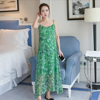 Small Wow Maternity Korean Round Print chiffon Long Dress Grenn - intl