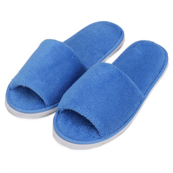 Harga Men Women Coral Velvet Open Toe Hotel Home Spa Slippers Travel Shoes Thick 7mm blue