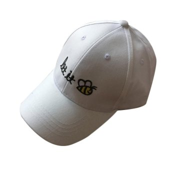Unisex Adults Bee Embroidery Cotton Peaked Caps Adjustable Baseball Hat - intl