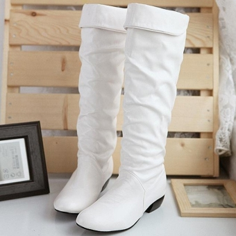 Harga Women's Grace Devise Round Toe Synthetic Leather Flat Knee High Boots-white-5 - intl