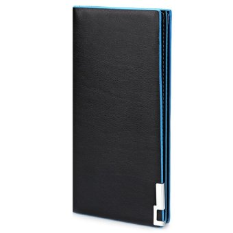 Harga Men Contrast Color Thin Vertical Two Fold Soft Long Open Wallet(Blue) - intl