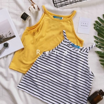 Harga Rena summer cool small sling Korean minimalist street wild section knit cloth to dig shoulder vest female (Mango)