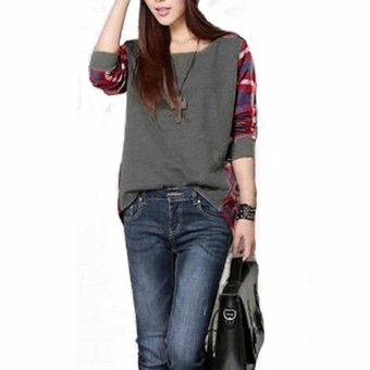 Harga Zanzea Women Casual Long Sleeve Round Neck Check Plaid Casual Loose Tops Shirt Blouse Grey - Intl