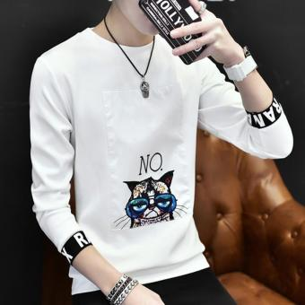 Men's Fashion Full Sleeve O-neck Casual T-Shirts White - intl