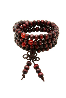 Harga 108 Beads 6mm Buddhist Prayer Sandalwood Bead Bracelet (Wine Red) - Intl