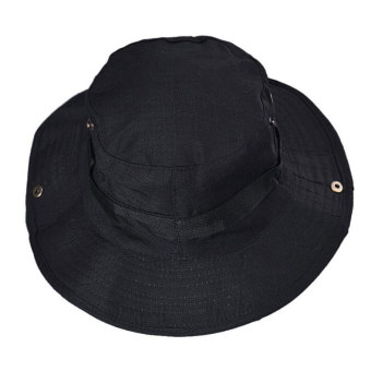Harga Fashionable Unisex Bucket Hat Sun Visor Canvas Cap Travel Outdoor Caps Black